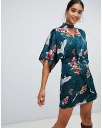 Liquorish - Kimono Floral And Bird Print Mini Dress With Choker Neck And Twist Front - Lyst