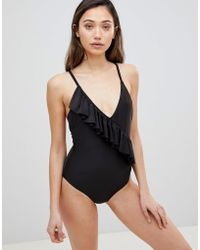 Playful Promises - Asymmetric Ruffle Swimsuit - Lyst