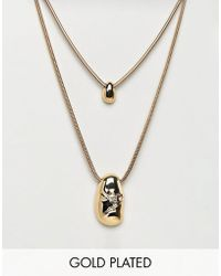 ASOS DESIGN - Gold Plated Fluid Shape And Crushed Metal Multirow Necklace - Lyst