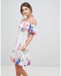 Coast - Azure Bardot Floral Print Dress - Lyst