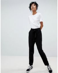 Pieces - Tie Waist Tailored Trousers - Lyst