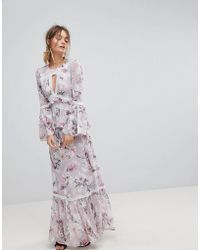 Forever New - Maxi Dress With Fluted Sleeve In Print - Lyst