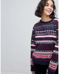 Monki | Christmas Fairisle Sweatshirt Jumper | Lyst
