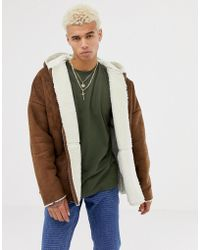 ASOS - Reversible Faux Shearling Jacket With Hood In Tan - Lyst