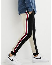 ASOS - Skinny joggers With Colour Blocking And Side Stripes - Lyst