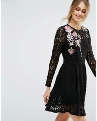 ASOS - All Over Lace Mini Dress With Floral Embroidery - Lyst