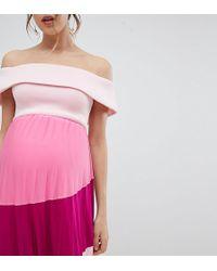 ASOS - Asos Design Maternity Scuba Bardot Color Block Pleated Midi Dress - Lyst