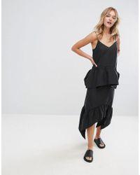 Monki - Asymmetric Hem Pleated Midi Skirt - Lyst