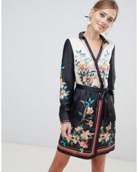 Oasis - Wrap Front Shirt Mini Dress In Scarf Print - Lyst