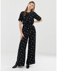 8a703e49e64 ASOS Vintage Floral Print Jumpsuit With Short Sleeve in Black - Lyst