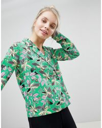 Monki - Floral Print Double Breasted Blouse - Lyst