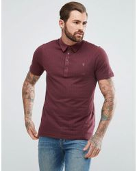 Farah   Chelsea Slim Fit Jacquard Polo Shirt In Red   Lyst