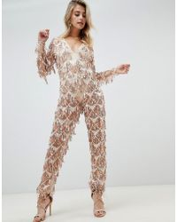 380956dfed8 Lyst - Prettylittlething Sequin Culotte Jumpsuit - Pink in Pink