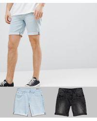 ASOS - Design Denim Shorts In Slim Washed Black With Abrasions & Light Wash - Lyst