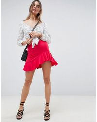 6c6affcf2b ASOS Denim Dolly A-line Button Through Mini Skirt In White With Raw Hem in  White - Lyst