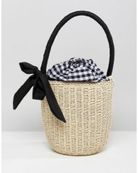 ASOS - Design Straw Top Handle Basket Bag With Gingham Insert - Lyst