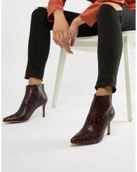 Stradivarius - Heeled Ankle Boot In Snake Print - Lyst