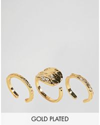 Pieces - Hammered Gold Plated Ring Trio - Lyst