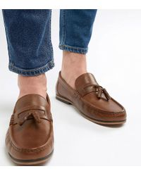 e702d66a004 ASOS - Wide Fit Tassel Loafers In Tan Leather With Natural Sole - Lyst