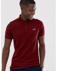 Hollister Icon Logo Heritage Slim Fit Polo In Burgundy Marl - Red