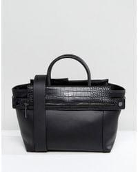 Fiorelli | Abbey Zip Detail Tote Bag In Black Moc Croc Mix | Lyst