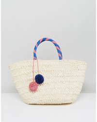 South Beach - Wrapped Handle Straw Beach Bag With Pom - Lyst