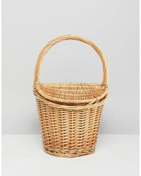 Mango - Mini Picnic Basket Bag In Natural - Lyst