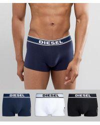 DIESEL - Large Logo 3 Pack Boxers - Lyst