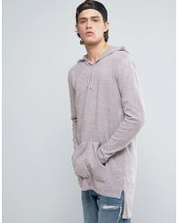ASOS - Knitted Longline Hoodie In Pink And Grey Twist - Lyst