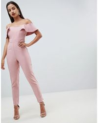 Lipsy - Sweetheart Bandeau Jumpsuit With Tie Waist In Pink - Lyst