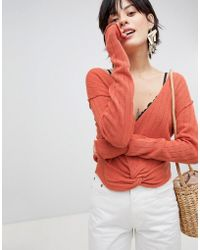 Free People - Got Me Twisted Knot Front Sweater - Lyst