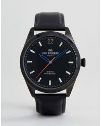 Ben Sherman - Wb019bb Leather Watch In Black - Lyst