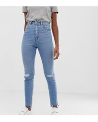 ASOS - Asos Design Tall Farleigh High Waisted Slim Mom Jeans In Light Vintage Wash With Busted Knee And Rip & Repair Detail - Lyst