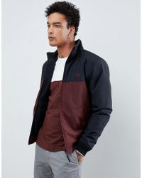 Fred Perry - Panelled Quilted Jacket In Burgundy/navy - Lyst