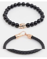 Simon Carter - Beaded & Leather Bracelet 2 Pack In Black - Lyst