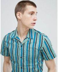 Stradivarius - Short Sleeve Revere Shirt In Blue Stripe - Lyst