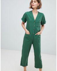 Monki - Denim V Button Front Jumpsuit - Lyst