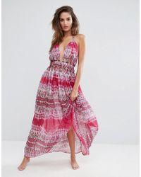 ASOS | Beach Pink Snake Print Knot Waist Chiffon Maxi Dress | Lyst