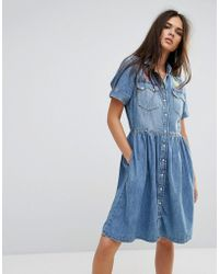 DIESEL - Denim Dress With Flare Skirt And Embroidery - Lyst