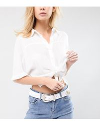 Retro Luxe London - White Leather Oversized Buckle Western Belt - Lyst