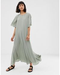 Weekday - Oversized Maxi Dress With Flared Sleeve In Sage Green - Lyst