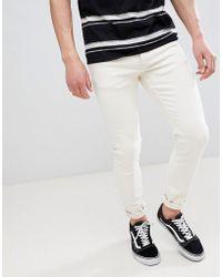 River Island - Skinny Fit Jeans In Ecru - Lyst