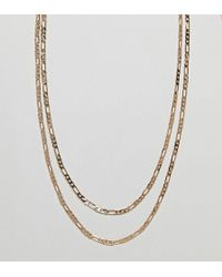 Reclaimed (vintage) - Inspired Gold Chain Necklaces In 2 Pack - Lyst