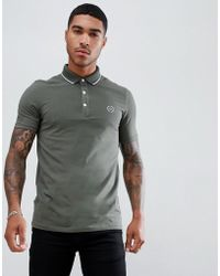 Armani Exchange - Slim Fit Tipped Chest Logo Polo In Khaki - Lyst