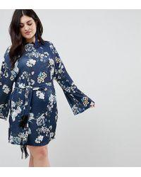 98e82191ed859 BOY London Asos Curve Wrap Dress in Oriental Bird Print in Blue - Lyst