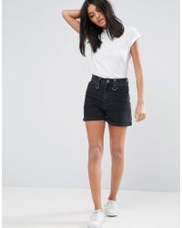 ASOS - Denim Mom Shorts In Washed Black With Ring Detail And Raw Waistband - Lyst
