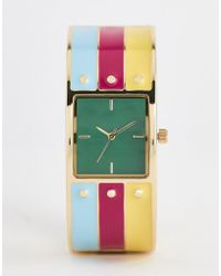 ASOS - Watch In Bangle Design With Enamel And Stud Details In Gold - Lyst