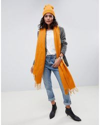 ASOS - Supersoft Long Woven Scarf With Tassels - Lyst