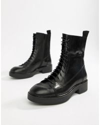 Vagabond - Diane Lace Up Black Leather Military Boots - Lyst