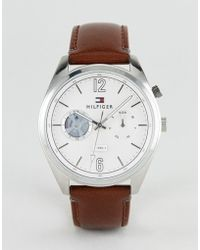 Tommy Hilfiger - Deacan Leather Watch In Brown 44mm - Lyst